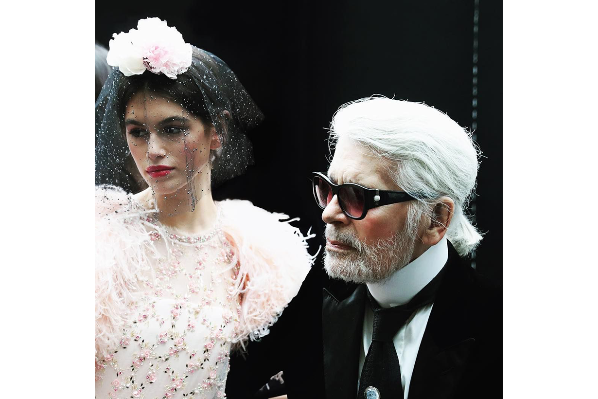 kaia gerber and karl lagerfeld
