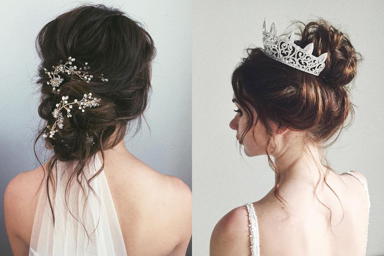 36 Messy Wedding Hair Updos: Messy Bun 也可以配婚紗 有了這些髮型靈感 小資新娘又可以省一筆了