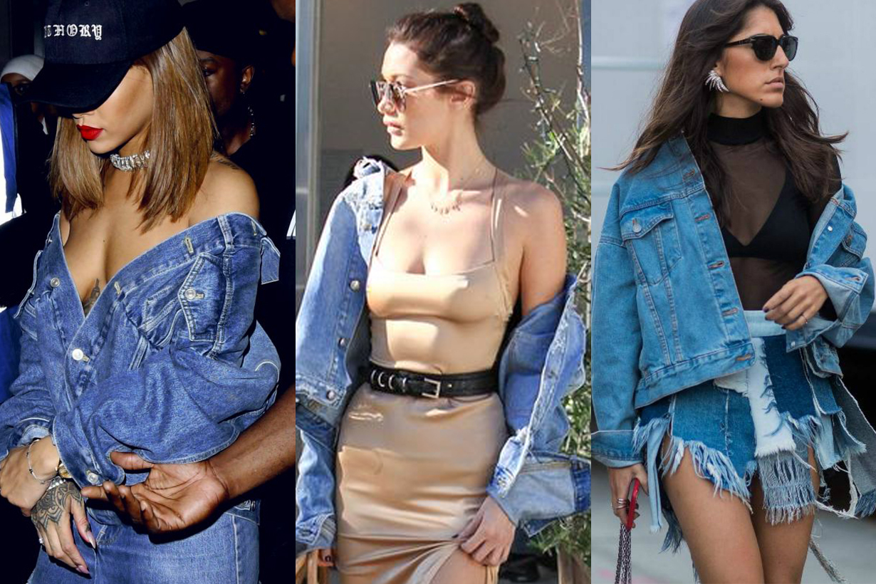off shoulder denim jacket trend