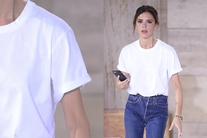white tee Victoria beckham styling tips