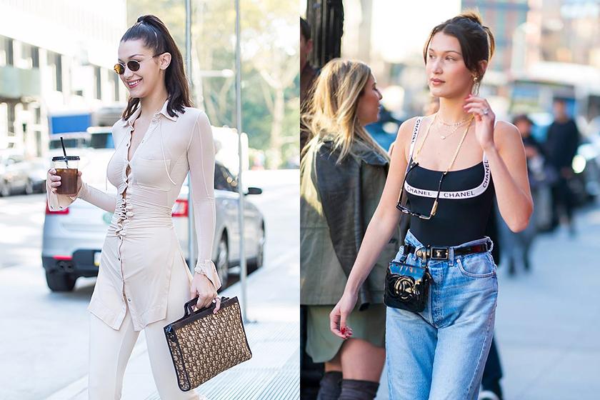 Bella-hadid-vintage-chanel-dior-handbags