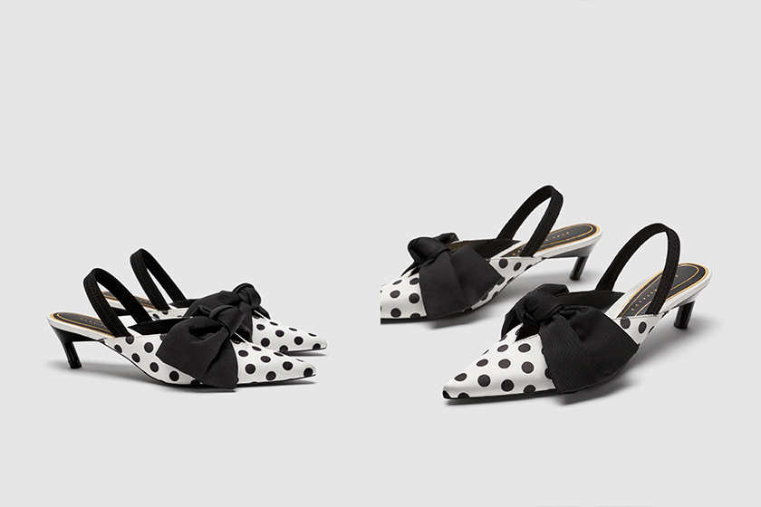 zara polka dots heels shoes