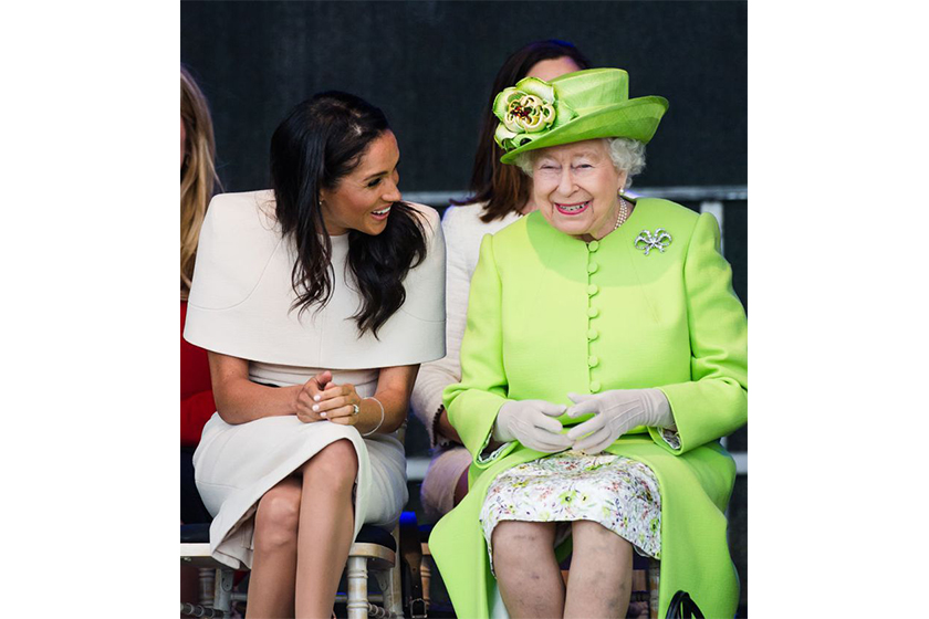meghan markle the queen body language and wears neutrals