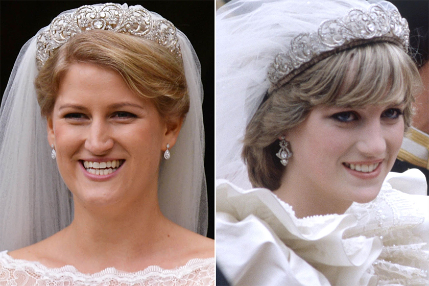 princess diana niece wearing spencer tiara wedding
