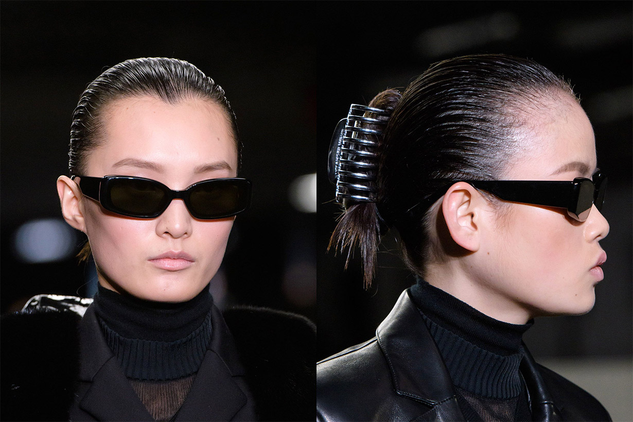 2018 Fall Winter hairstyles trend low ponytail choker hairstyles Shark clip hairstyles