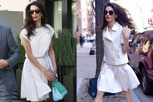 Amal Clooney Pleated Skirt