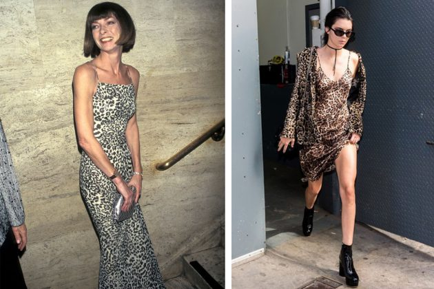 Anna Wintour Kendall Jenner Leopard Printed Dress