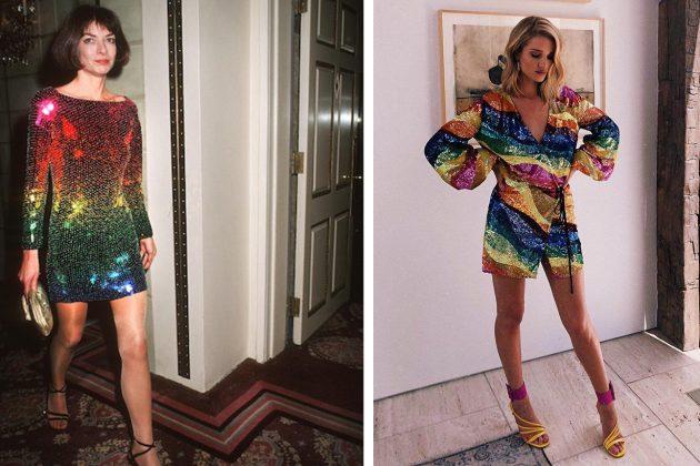 Anna Wintour Rosie Huntington Whiteley RAINBOW SEQUINS Dress
