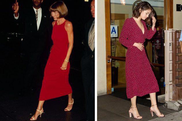 Anna Wintour Selena Gomez Red Dress Sandals