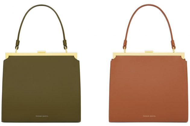 Mansur Gavriel Elegant Bag Handbag Olive Green Brown Leather
