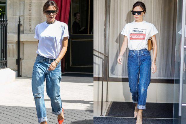 Victoria Beckham White Tee Boyfriend Jeans