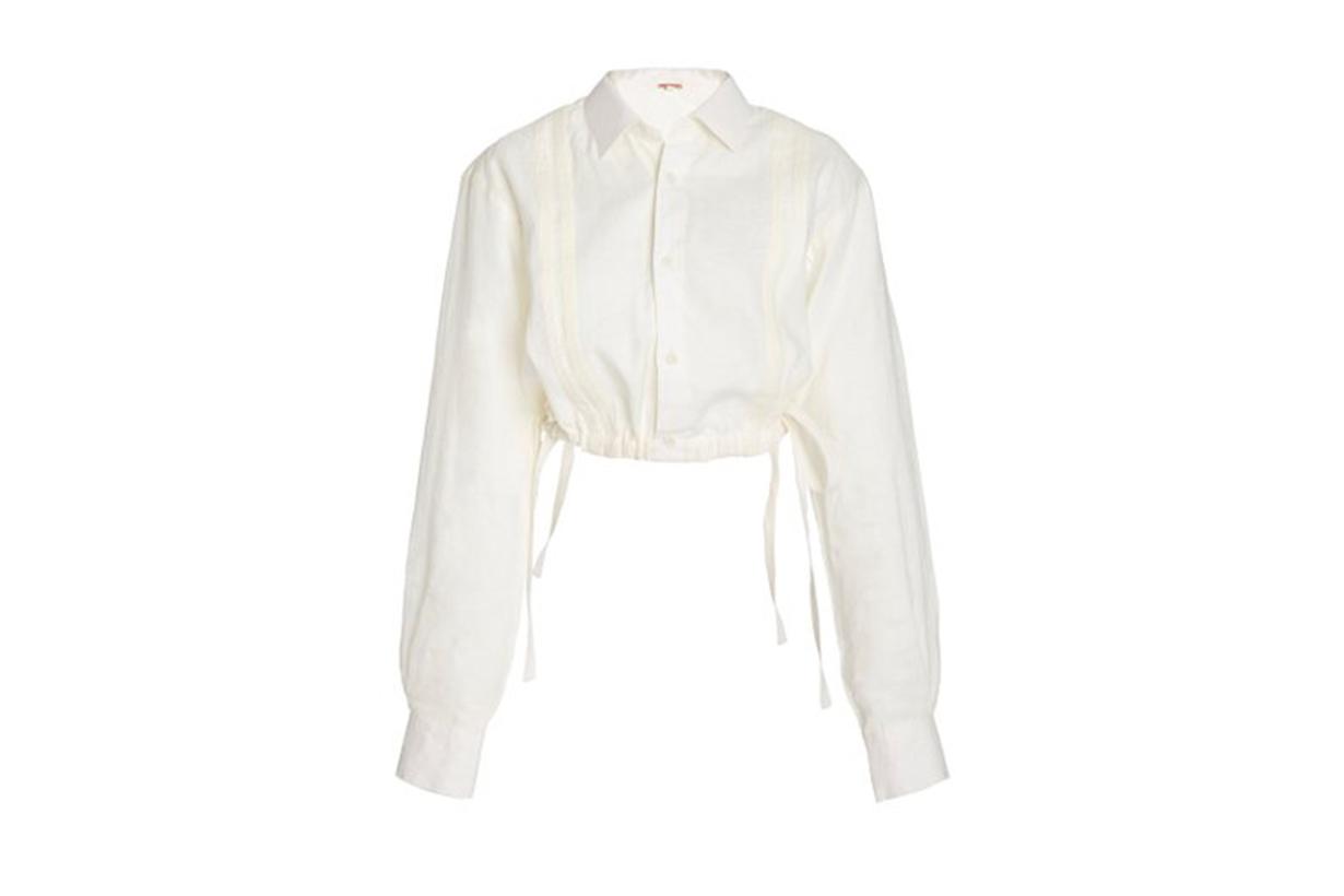 Johanna Ortiz Ecru Cuban Towns Cropped Linen Shirt