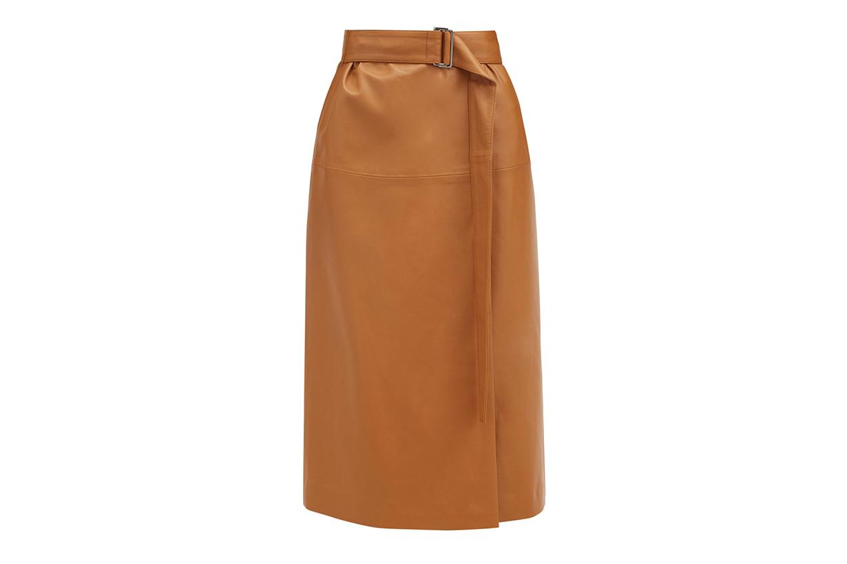 JOSEPH Salic leather wrap midi skirt