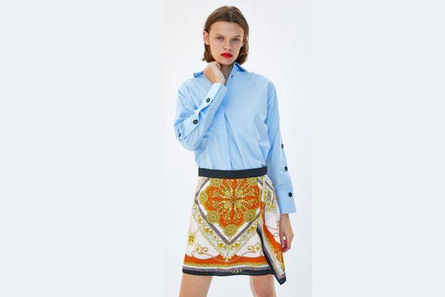 zara_silk skirt with blue shirt