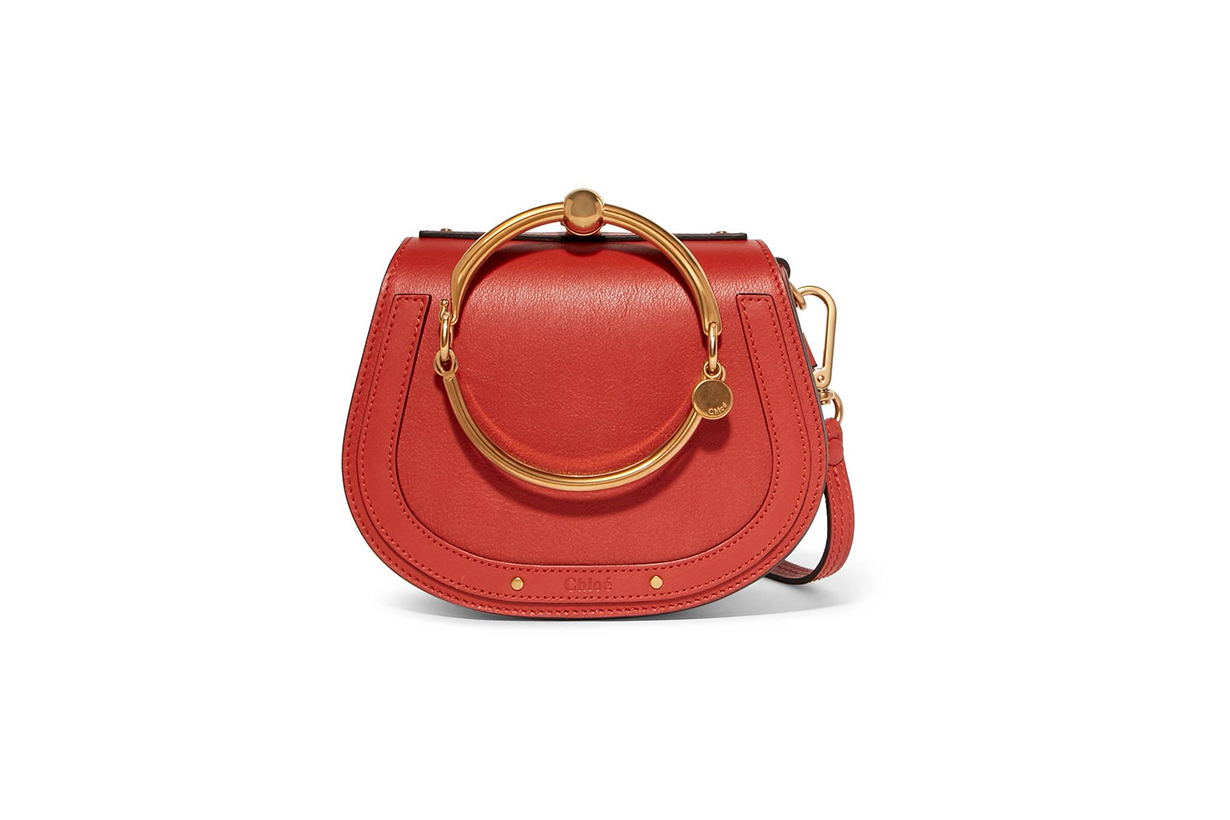 Chloé Nile Bracelet Leather and Suede Shoulder Bag