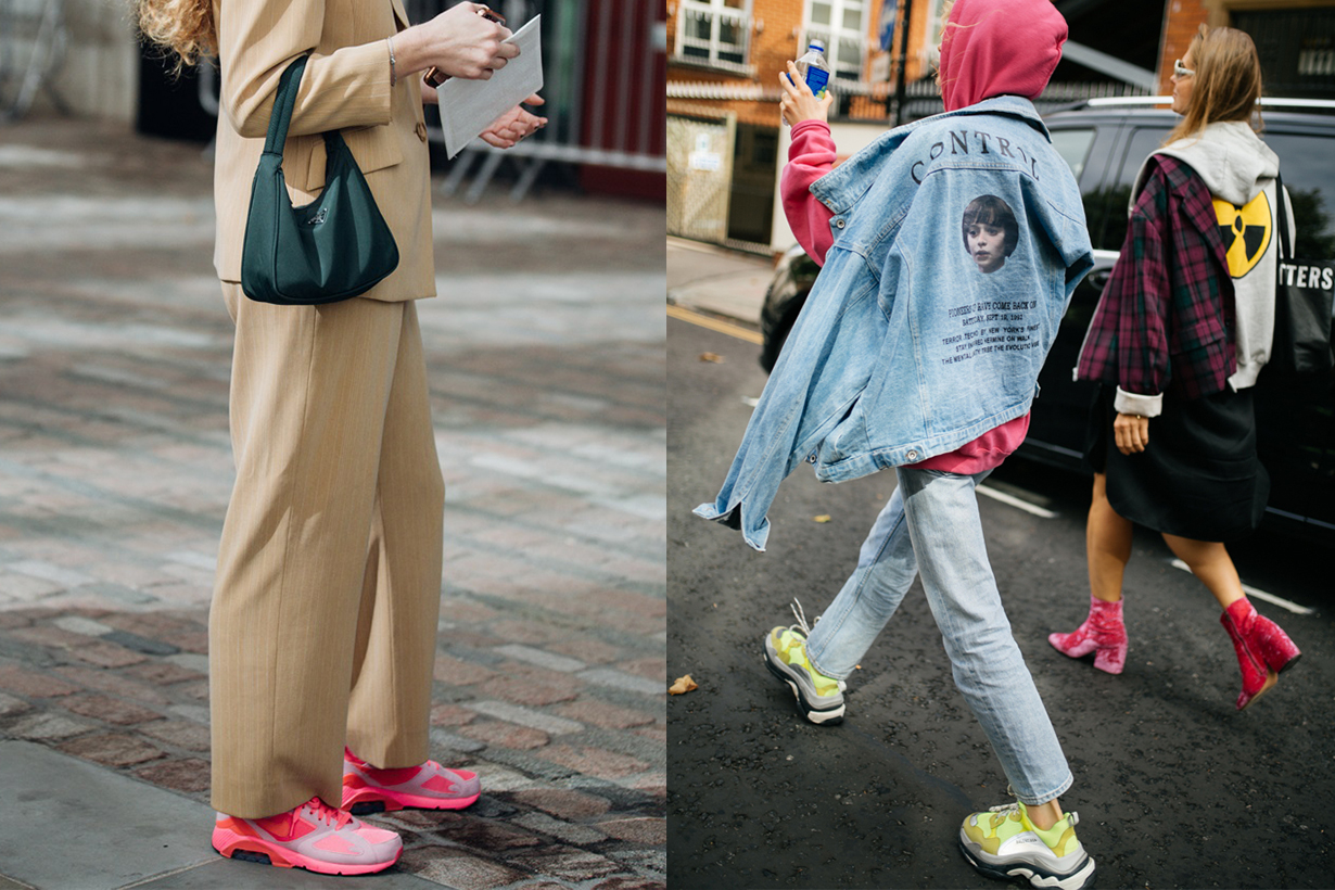 Colour Sneakers Fashion Week 2019 Street Style
