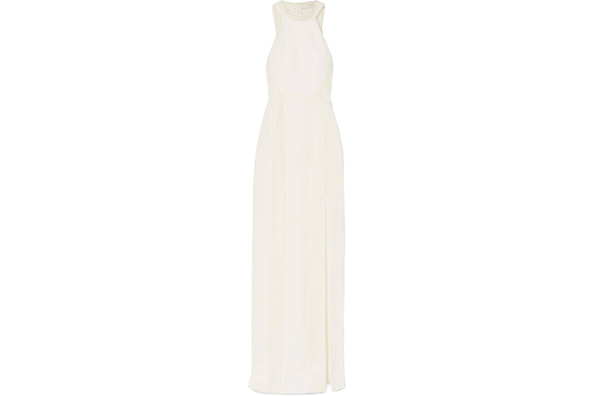 Galvan London Palm Beach Ribbed Jersey Halterneck Gown