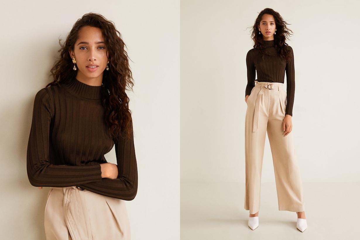 Mango Turtleneck Ribbed Sweater