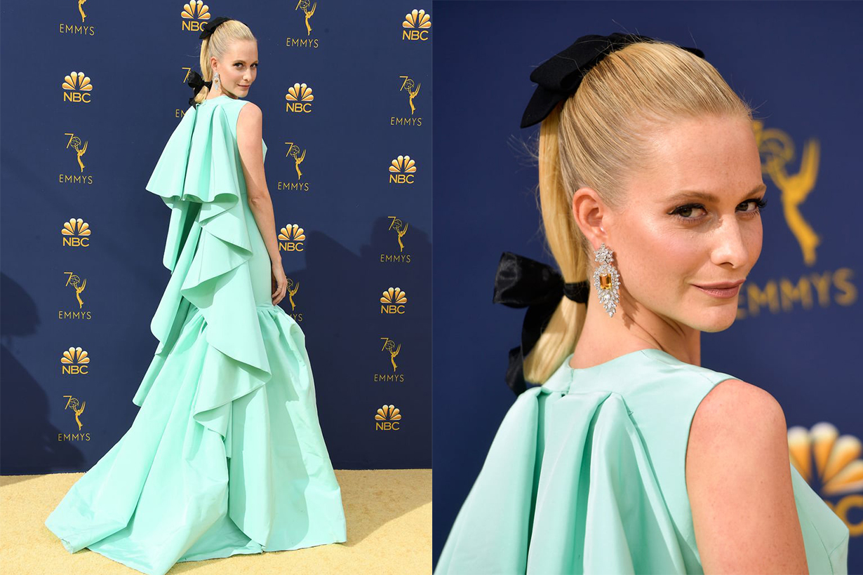 Poppy Delevingne wore the Emilia Wickstead ponytail trend at the Emmys