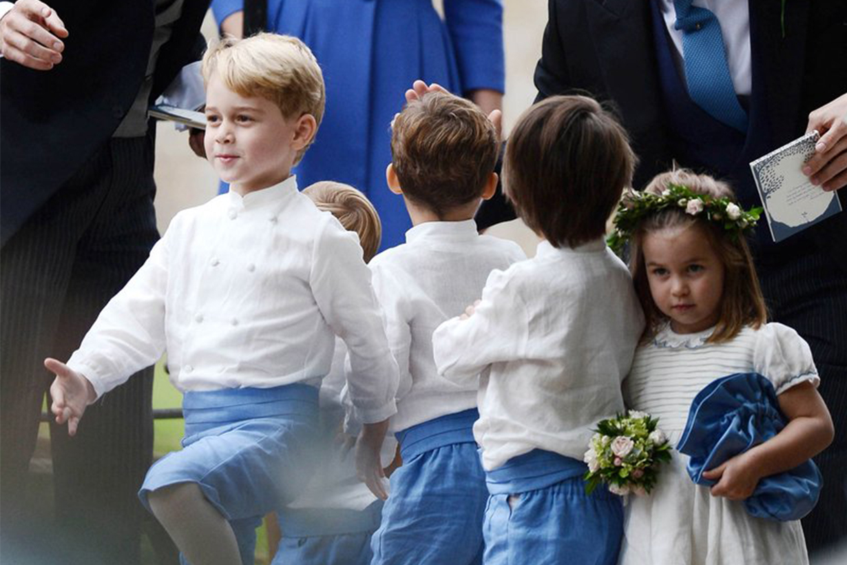 Prince George and Princess Charlotte at Sophie Carter's wedding