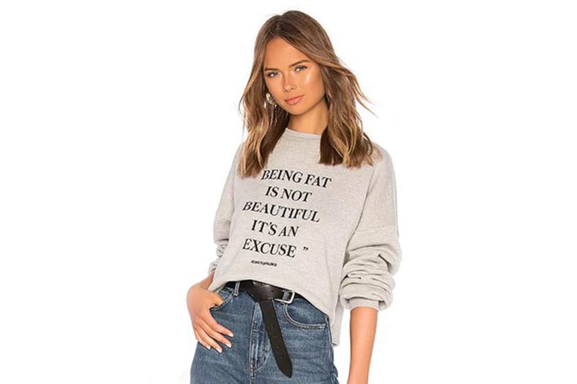 Revolve Slogan Sweatshirt Fat Shaming