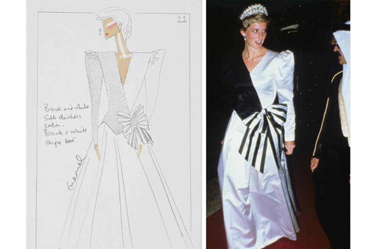 Emanuels Design Sketch for Princess Diana