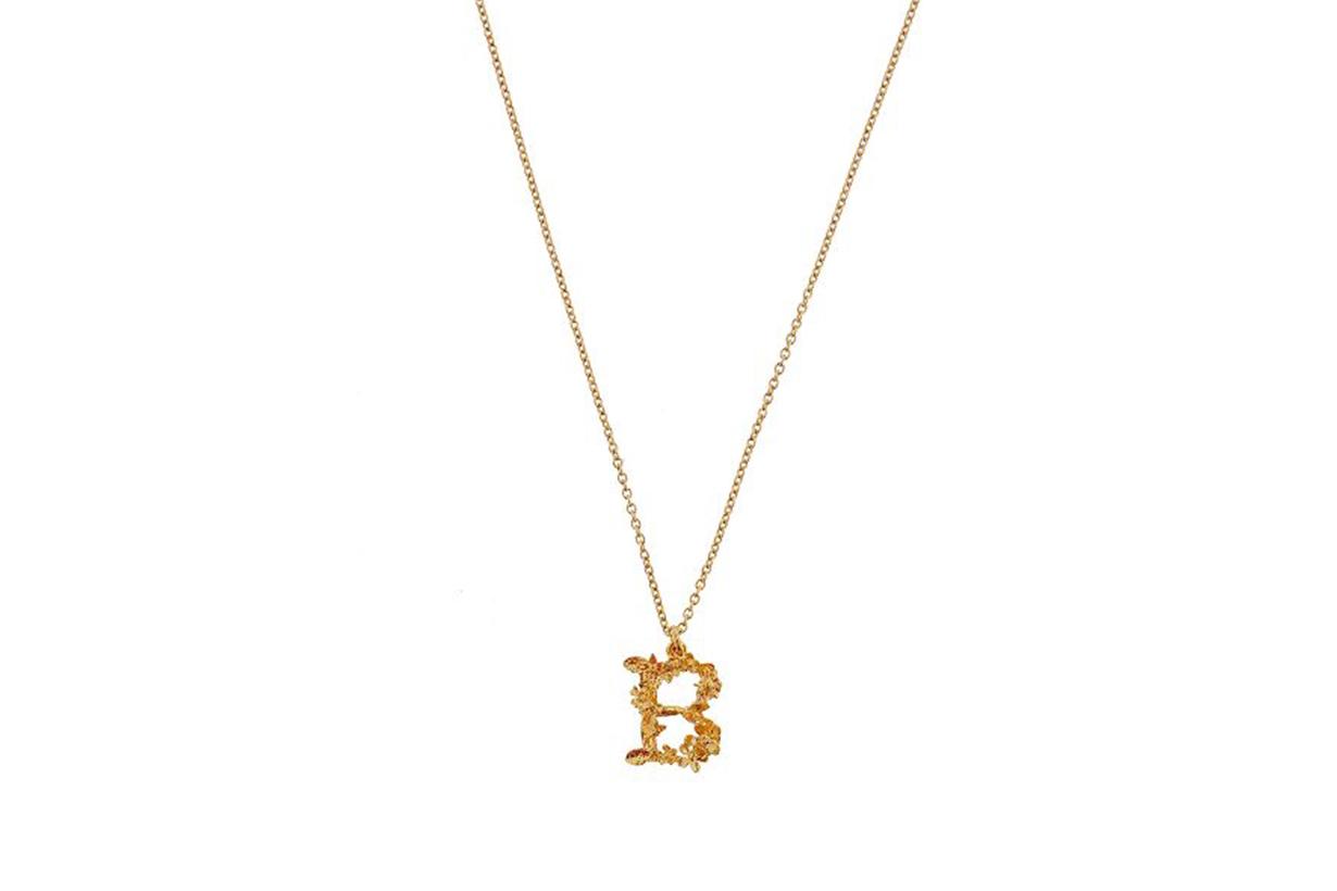 Alex Monroe Gold-Plated Floral Letter Alphabet Necklace