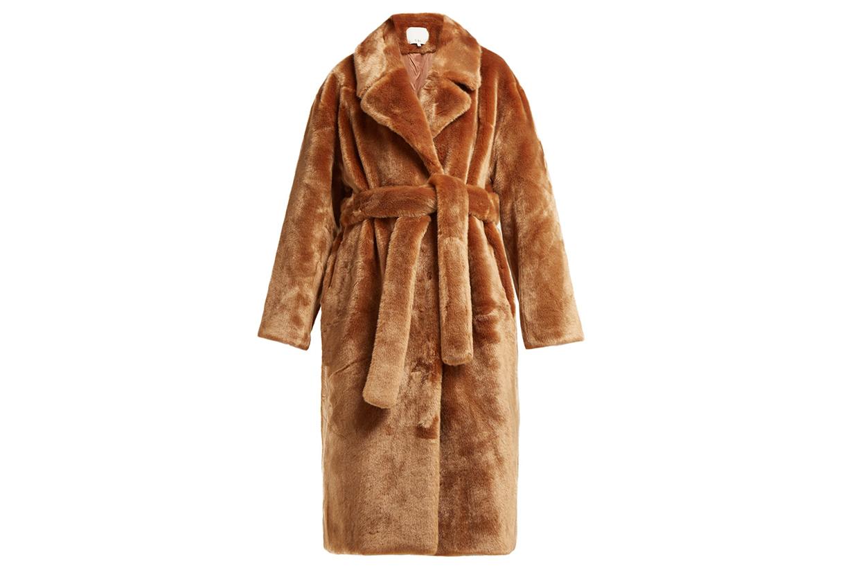 Tibi Belted faux-fur coat