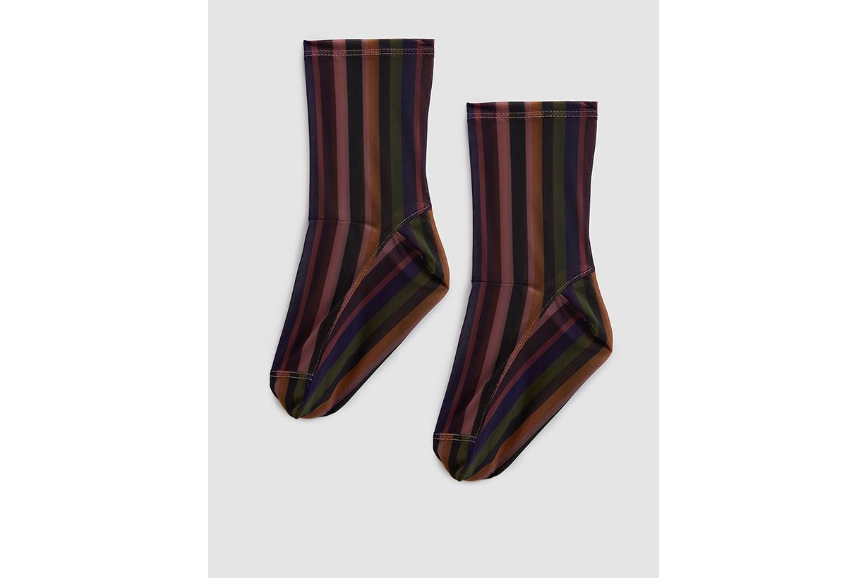 Darner Mesh Socks in Olive Stripes