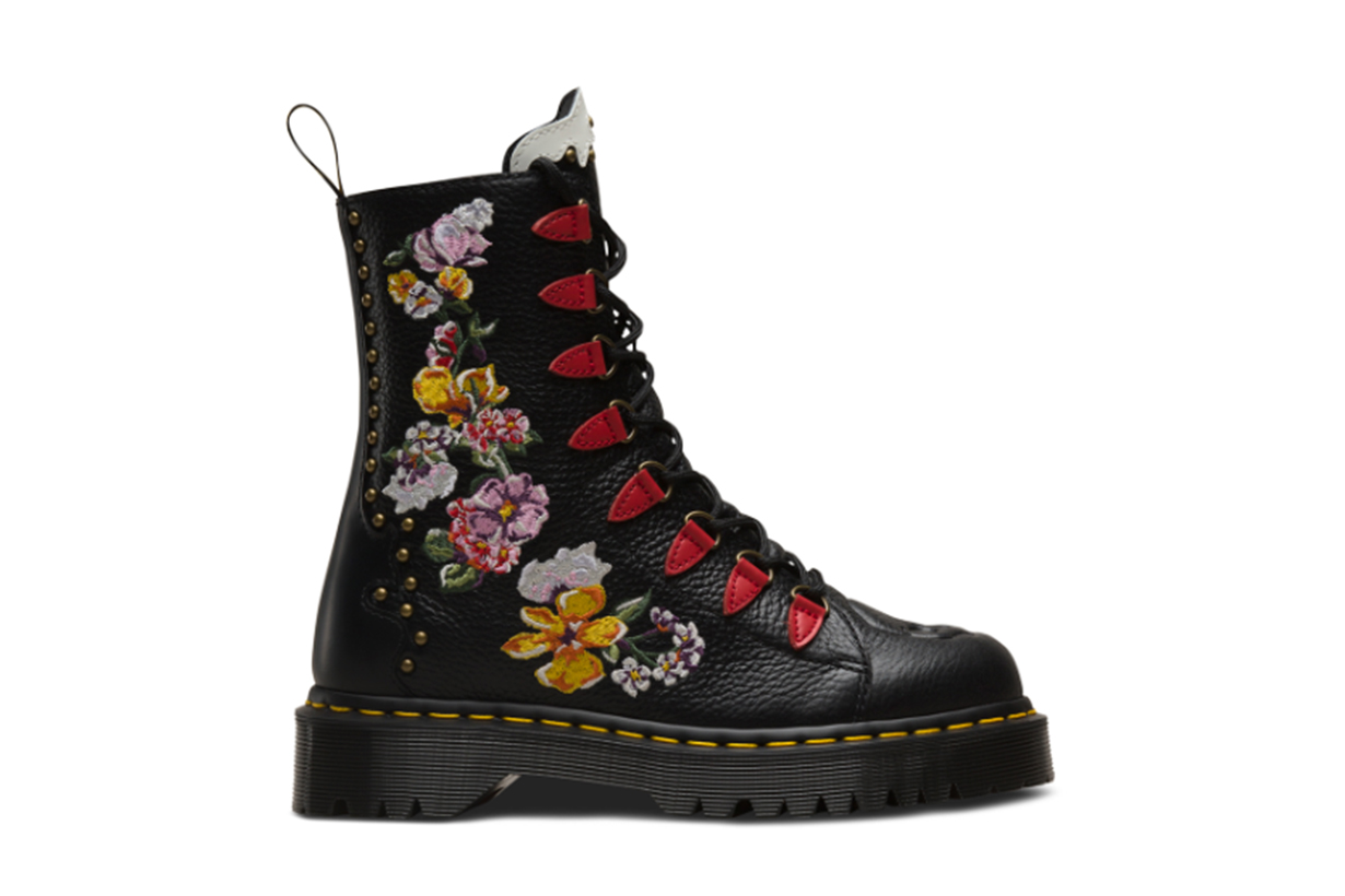 Dr Martens Nyberg Black Leather Embroidered Chunky Flatform Boots