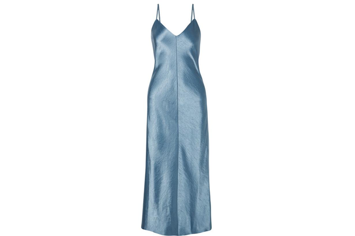 THEORY Hammered Satin Midi Dress