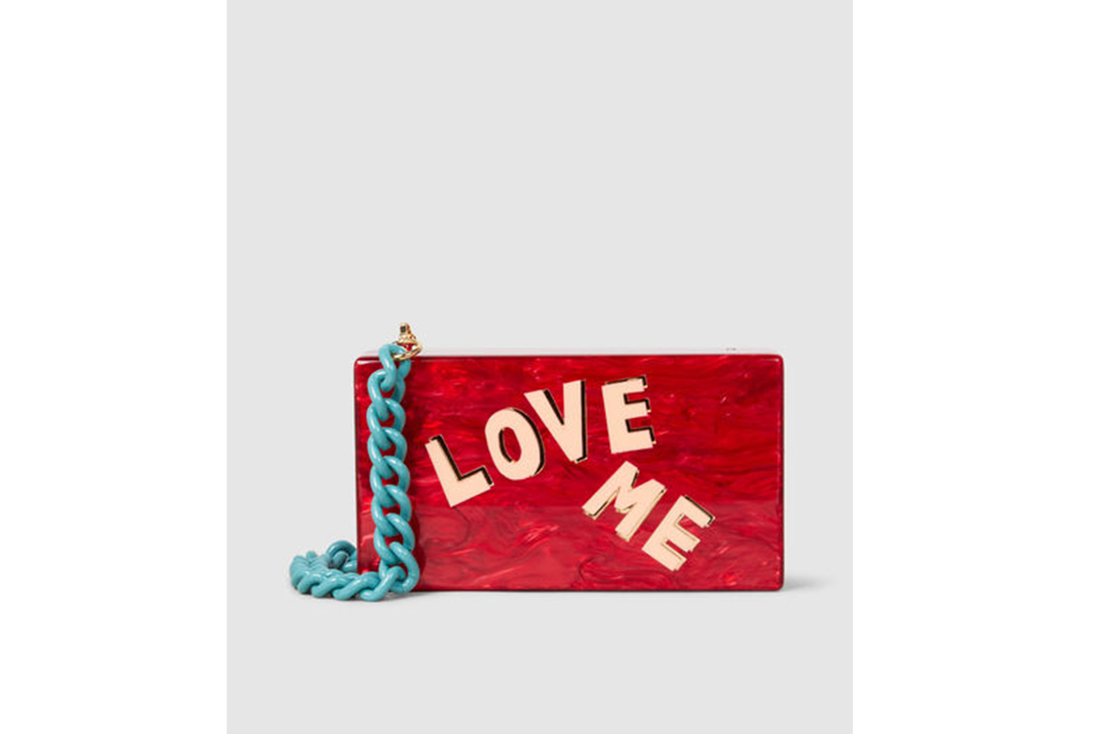 Edie Parker Love Me Solid Acrylic Box Clutch