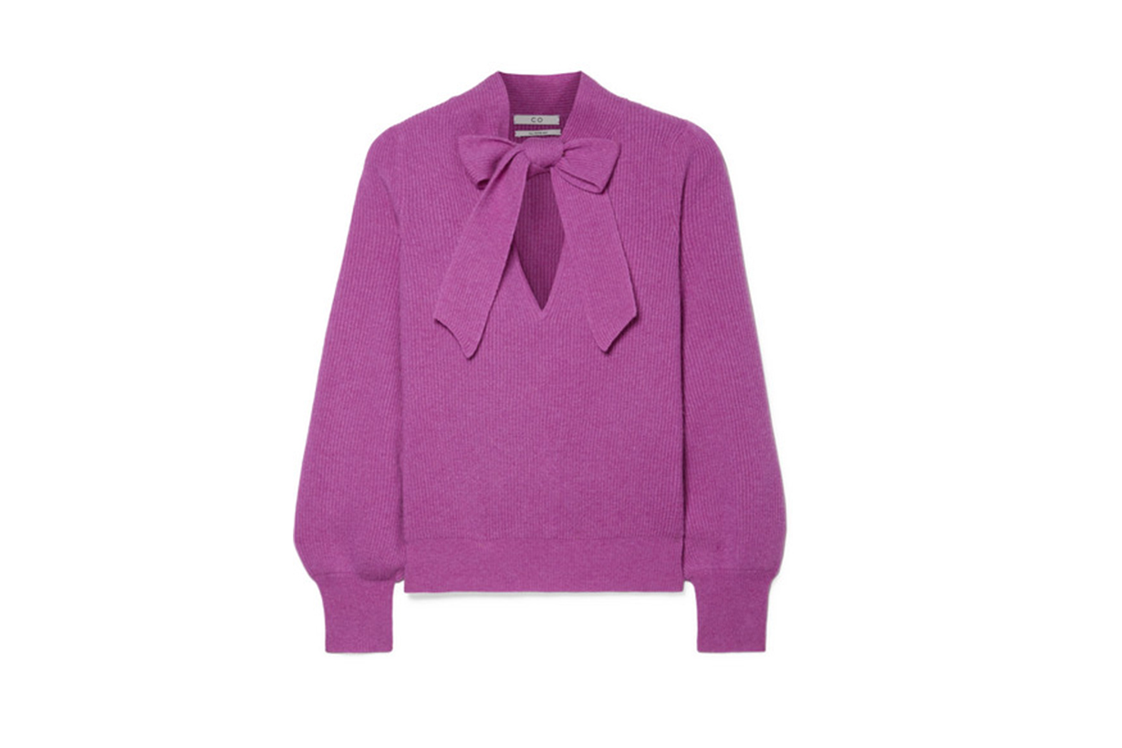 Co Pussy-bow ribbed cashmere sweater