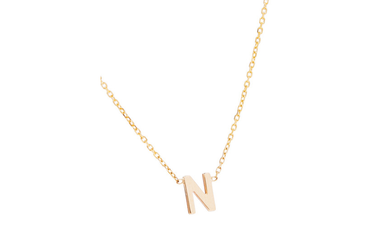 Sarah & Sebastian Letter 14-karat gold necklace