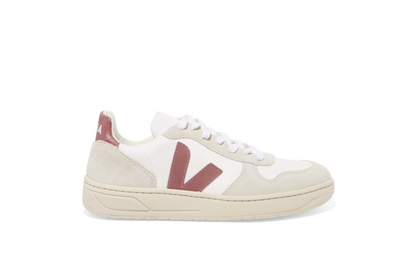 Veja V-10 leather, mesh and suede sneakers