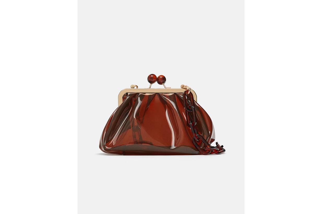 Zara Vinyl Crossbody Bag with Clasp