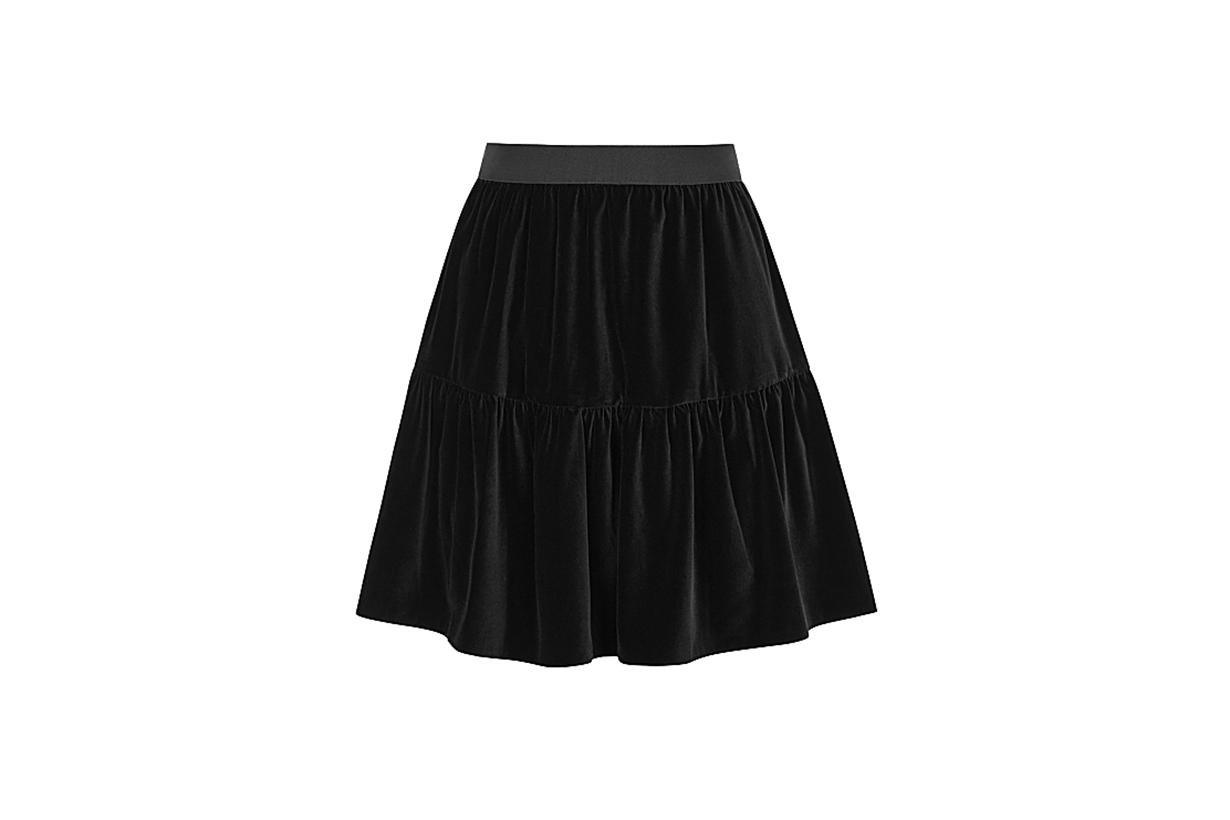 ALICE + OLIVIA  Sahara black stretch-velvet mini skirt