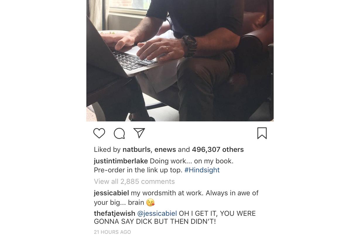 justin timberlake jessica biel instagram comment joke hindsight
