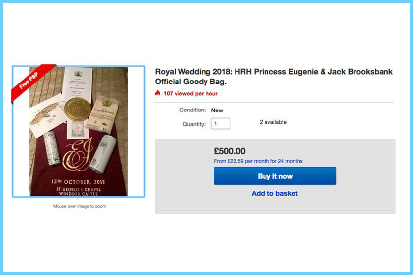 royal wedding guestsy selling their gift bags