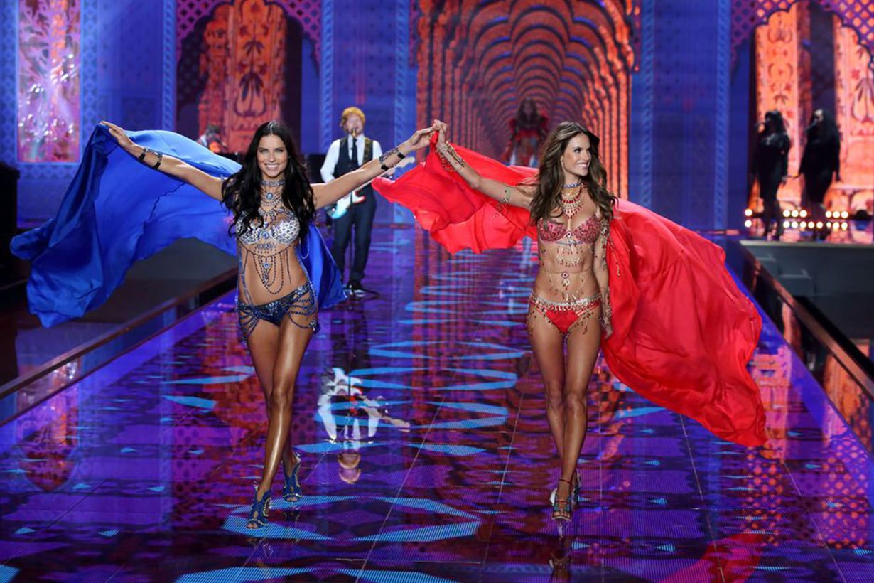 "Adriana Lima and Alessandra Ambrosio in the ""Dream Angels Fantasy Bras 2014 Victoria's Secret Models"