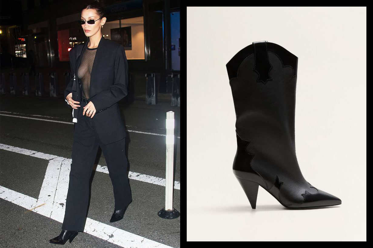 Bella Hadid's Mango Boots Black Suit Style