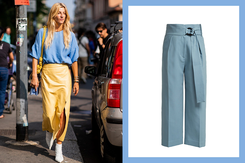 Cornflower Blue Petar Petrov belted wool-blend trousers