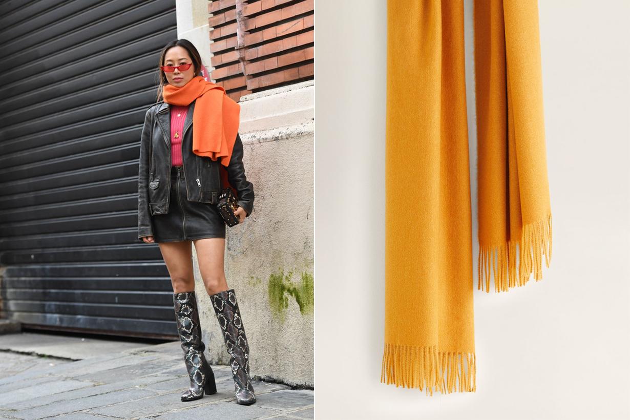 Mango Fringed Edge Scarf Aimee Song Winter Street Style