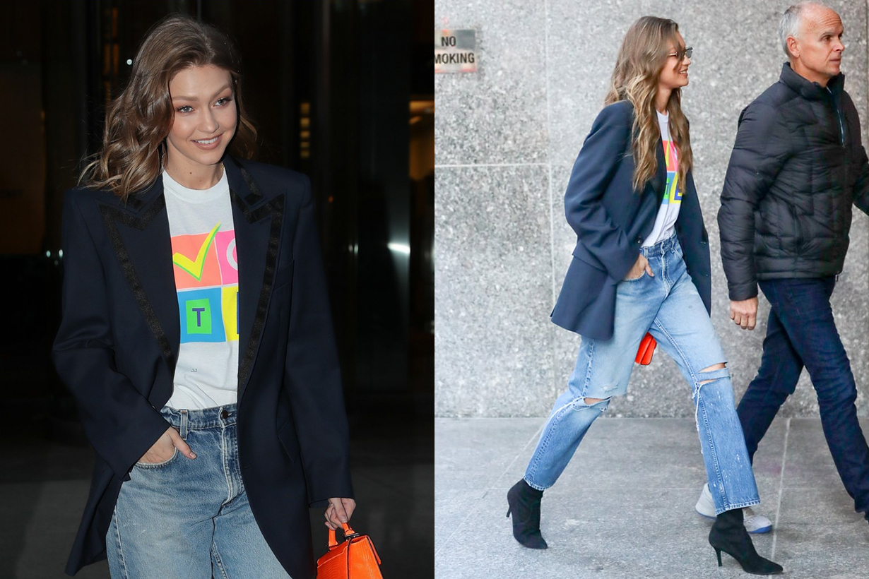 Gigi Hadid Baggy Jeans Vote T-shirt
