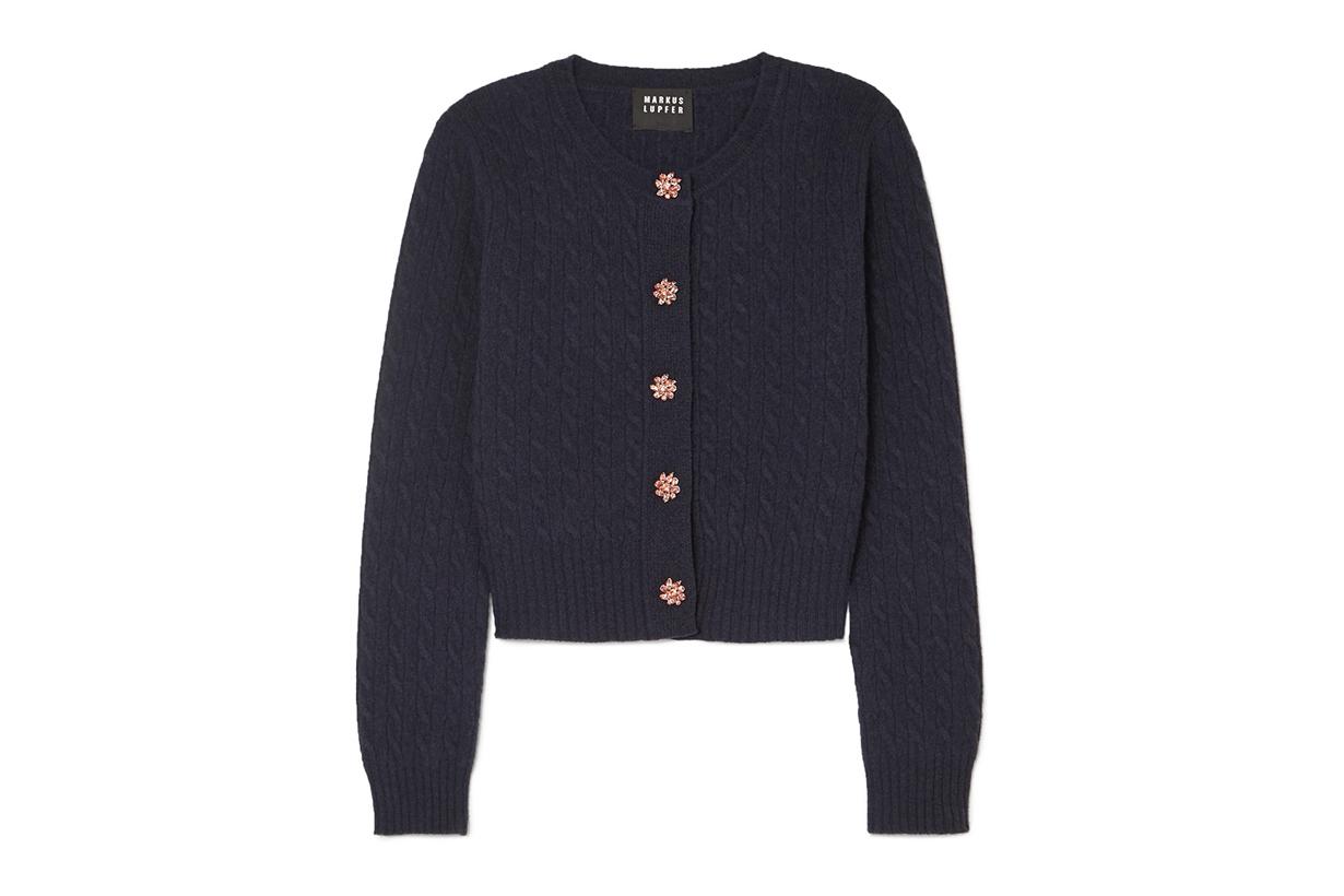 Markus Lupfer Harper Crystal-embellished Wool Cardigan