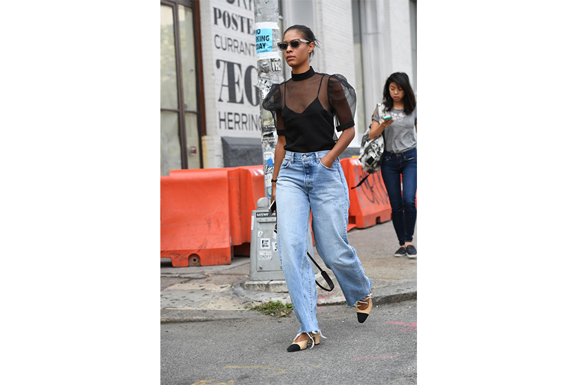 Sheer Blouse Baggy Jeans Street Style