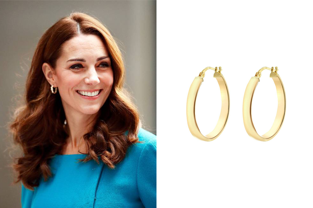 IBB 9ct Yellow Gold Creole Hoop Earrings Kate Middleton