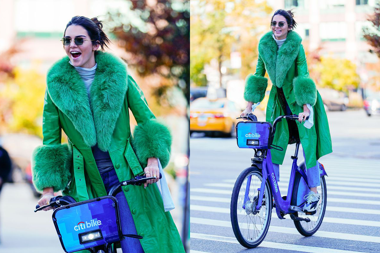 Kendall Jenner on a Citibike