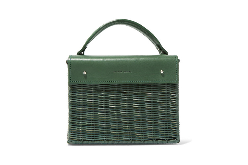 Wicker Wings Kuai rattan and leather tote
