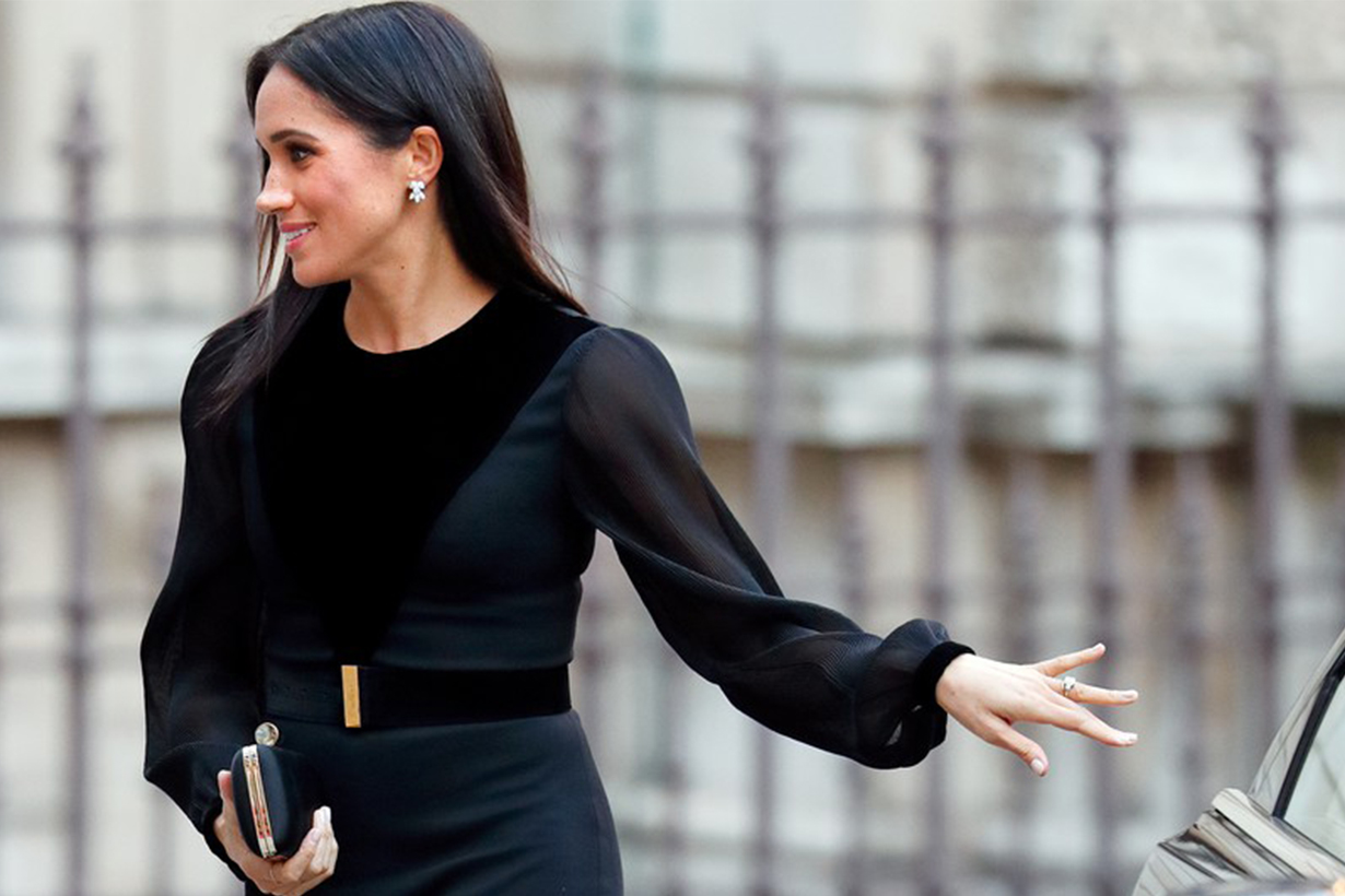 Meghan Markle Black Dress Close Car Door